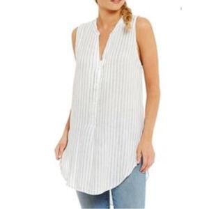 Sanctuary Arlo Striped Tunic Top White Linen S